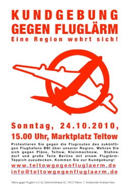 Plakat zur Demo in Teltow, 24.10.2010