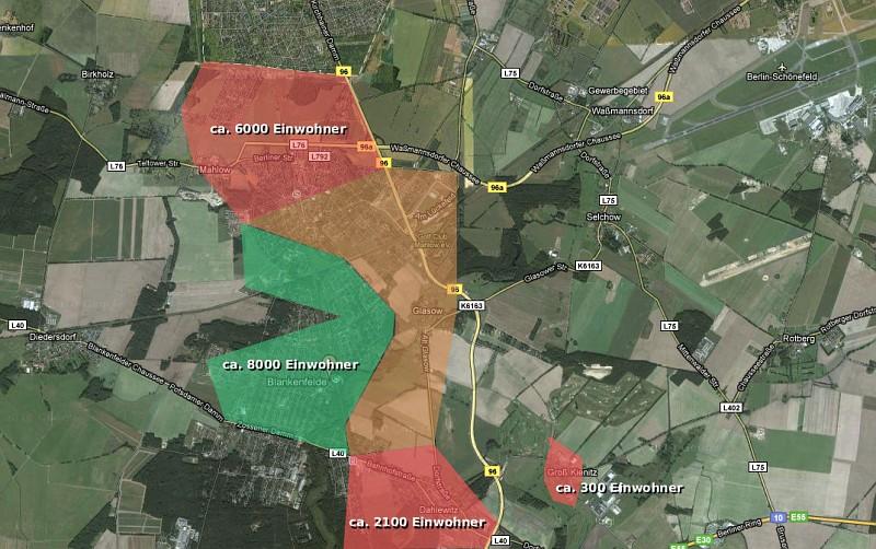 Verteilung der Einwohnerzahlen auf die Gebiete der möglichen Abflugrouten